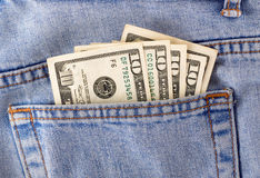 Money in the pocket. Of jeans Stock Images