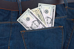Money in the pocket  blue jeans Royalty Free Stock Image