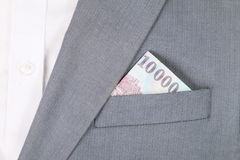 Money in the pocket of the jacket Stock Images
