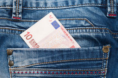 Money in the pocket of jeans Royalty Free Stock Images