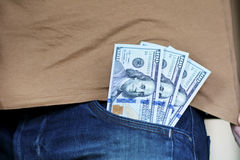 Money in  pocket of jeans Royalty Free Stock Photo