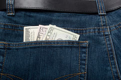 Money01. Money in a pocket of jeans (dollars Royalty Free Stock Image