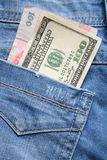 Money in pocket of jeans Stock Images