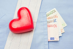 Money in the pocket of a medical uniform, heart and electrocardiogram Stock Images