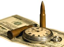 Money, pocket watch and bullets Stock Images