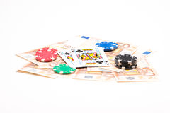 Money with poker chips and cards Stock Images