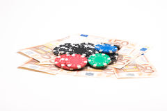 Money with poker chips Stock Photo