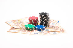 Money with poker chips Stock Image