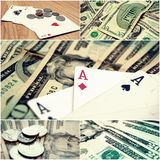 Money and Poker Stock Photo Collage Royalty Free Stock Photos