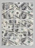 Money polaroid wall. Picture wall of hundred dollar bills stock images