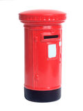 Money Post Box. Hand painted red money box isolated on white background stock photography