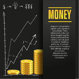 Money poster or banner design template. Money poster or banner design template with golden coins and copy space for text. Vector illustration. Money making Stock Image