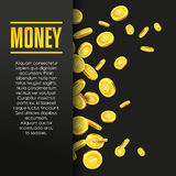 Money poster or banner design template. Money poster or banner design template with golden coins and copy space for text. Vector illustration. Money making Royalty Free Stock Images