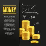 Money poster or banner design template. Royalty Free Stock Images