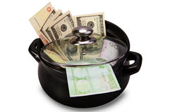 Money in a pot. Concept Stock Images