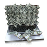 Money pouring out from laptop Stock Photos