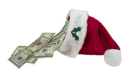 Money Pouring from Santa Hat Stock Photography