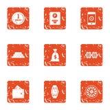 Money power icons set, grunge style. Money power icons set. Grunge set of 9 money power vector icons for web isolated on white background Royalty Free Stock Images
