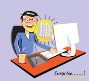 Money, present, surprise. Cartoon illustration showing surprising guy get money from popping out hand from computer screen royalty free illustration