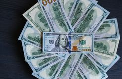 The money is presented in the form of a circle as a background stock photography