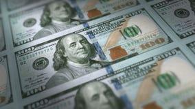 Money Printing 100 US Dollar Bills Loop. Animation close up of new 100 US Dollar bills being printed. Seamless loop stock video