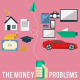Money Problems. The creative flat design icon of money problems Stock Images