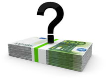 Money problems or solutions. A black question mark on a bundle of euro notes Royalty Free Stock Image