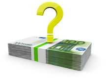Money problems or solutions. A golden question mark on a bundle of euro notes Royalty Free Stock Image