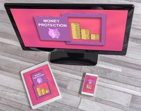 Money protection concept on different devices. Money protection concept shown on different information technology devices stock image