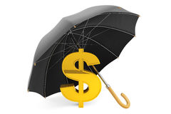 Money Protection Concept. Golden Dollar Sign under Umbrella. On a white background Royalty Free Stock Image