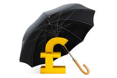 Money Protection Concept. Golden Pound Sterling Sign under Umbre Stock Photos