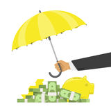 Money protection concept. Hand holding umbrella to protect money. Money cash and gold coins under yellow Umbrella vector illustration in flat style. Financial Stock Photography
