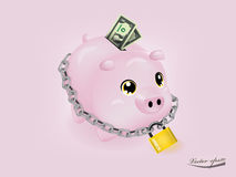 Money protection concept. A pink piggy bank chained up and locked with US dollar money paper, money protection concept Stock Photography