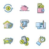 Money protection icons set, cartoon style royalty free illustration