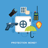 Money protection. Image made out of icons Royalty Free Stock Photo