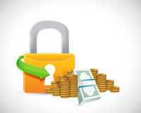 Money protection lock symbol illustration Stock Images