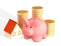 Money for purchase of habitation. Conceptual image - money for purchase of habitation stock photos