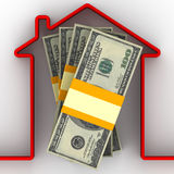 Money for the purchase of real estate. Stack of packs of 100 dollar American bills, tied with a ribbon, and red home contour. . 3D Illustration Stock Illustration