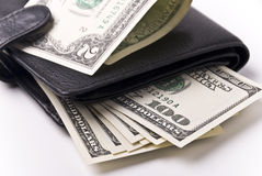 Money and purse Royalty Free Stock Photos