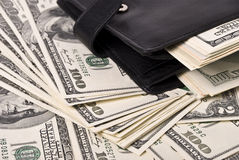 Money and purse Royalty Free Stock Image