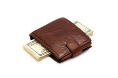 Money and purse. Money and a purse isolated on a white background Royalty Free Stock Photos