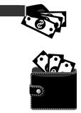Money in purse black Stock Photo