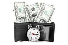 Money in purse with clock Stock Image
