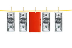 Money and purse laundering and dry after wash hang Royalty Free Stock Image