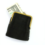 Money. Purse with one dollar Stock Images