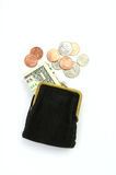 Money. Purse with one dollar and coins Royalty Free Stock Images