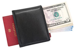 Money, purse and passport. Stock Photos