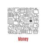 Money purse of shopping retail icons royalty free illustration