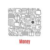Money purse of shopping retail icons Royalty Free Stock Photo