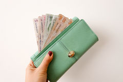 Money purse. Money in purse on white Stock Photography